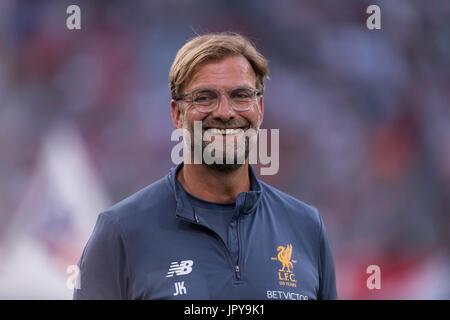 Munich, Germany. 2nd Aug, 2017. Jurgen Klopp (Liverpool) Football/Soccer : Audi Cup 2017 Final match between Liverpool - Stock Photo