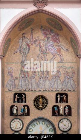 Moravian folk festival depicted in the mosaic designed by Czech artist Karel Svolinský on the Astronomical clock - Stock Photo