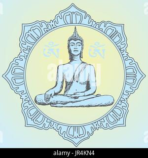 Hand drawn Buddha in meditation. Vector - Stock Photo