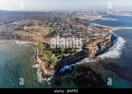 San Pedro pacific ocean coastline aerial in Los Angeles, California. - Stock Photo