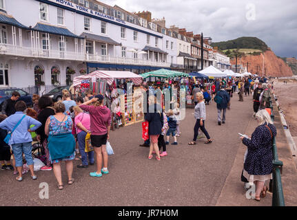 Sidmouth, Devon, UK. 4th Aug, 2017. Sidmouth Folk Week Festival - stalls along the Esplanade. The folk festival - Stock Photo