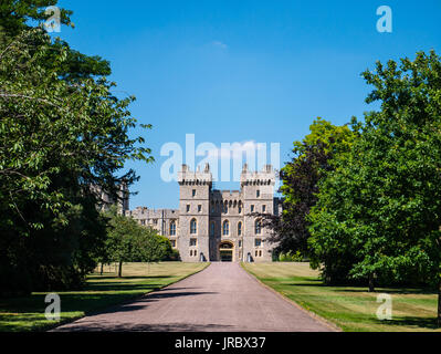 Windsor Castle View from the Long Walk, Windsor, Berkshire, England, UK, GB. - Stock Photo