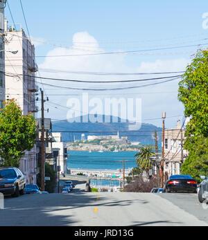 Alcatraz island seen from San Francisco, California - Stock Photo