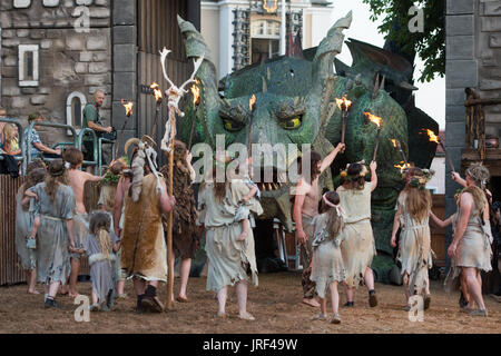 Scene of the folk play 'The Dragon Sting' during the general rehearsal in Furth im Wald, Germany, 03 August 2017. - Stock Photo