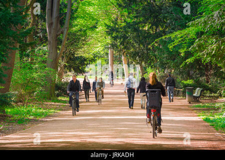Berlin cycling park, cyclists in the center of Berlin use the extensive cycle paths in the Tiergarten park, Germany. - Stock Photo
