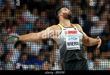 Germany's Martin Wierig in action in the Men's Discus - Stock Photo