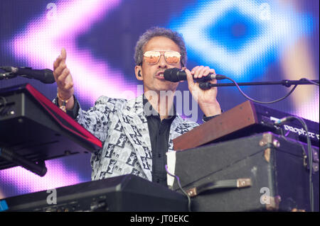 Level 42 play Rewind North Festival, Capesthorne Hall, Cheshire 05th August, 2017. - Stock Photo