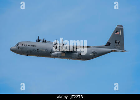 C-130J Hercules participating in the United States Air Force 70th Anniversary Flypast at the Royal International - Stock Photo