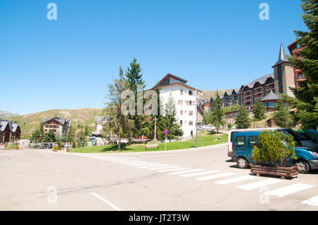 The ski resort village of Formigal (Aramón Formigal), in the Aragon Pyrenees of northeastern Spain, - Stock Photo