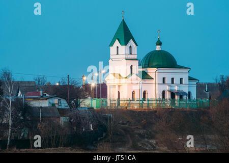 Gomel, Belarus. Church Of St Nicholas The Wonderworker In Lighting At Evening Or Night Illumination. Orthodox Church - Stock Photo