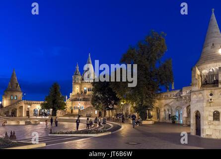 Fishermen's Bastion at night, Buda Castle district, Castle Hill, Budapest, Hungary - Stock Photo