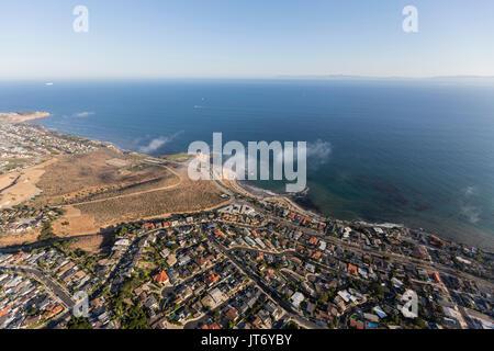 Aerial view of the San Pedro coastline in Los Angeles, California. - Stock Photo