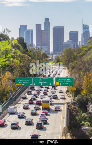 The skyline of downtown Los Angeles, California. Los Angeles is the most populous city in the U.S. state of California. - Stock Photo