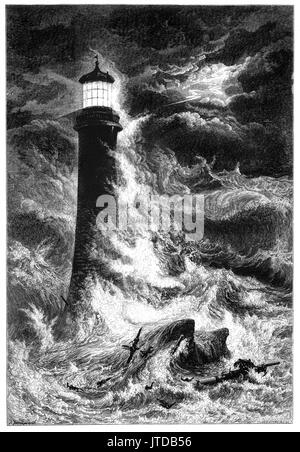 1870: Raging storms assault the Eddystone Lighthouse, 9 statute miles (14 km) south of Rame Head, Devon, England. - Stock Photo
