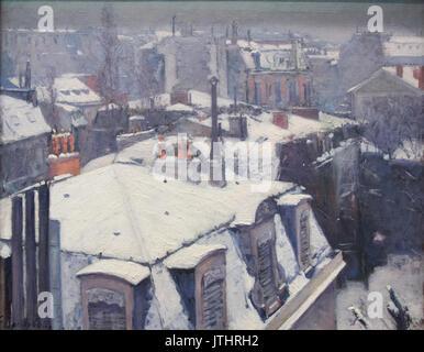 Vue de toits (Effet de neige)   Gustave Caillebotte - Stock Photo