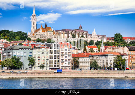 Budapest, Hungary - Matthias Church, Fisherman's Bastion and Danube River in hungarian capital city. - Stock Photo