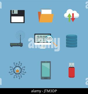 color background with set elements cloud storage and technology elements - Stock Photo