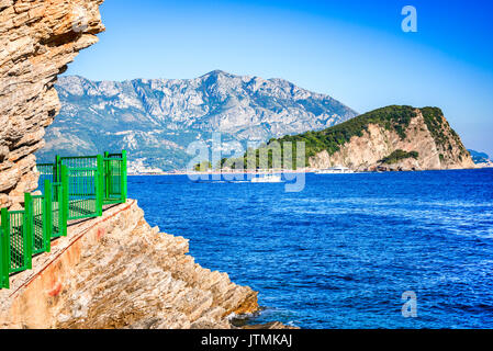 Budva, Montenegro. Sveti Nikola Island and Adriatic Sea, Crna Gora mountains. - Stock Photo