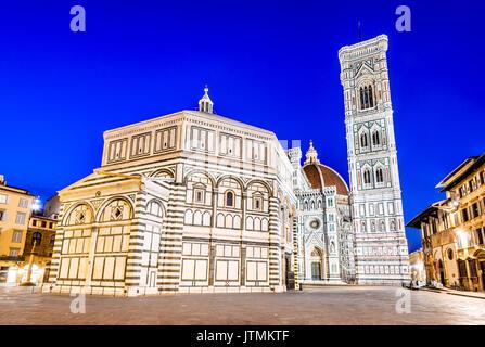 Florence, Tuscany - Night scenery with Piazza del Duomo and Catedrale Santa Maria del Fiori, Renaissance architecture - Stock Photo