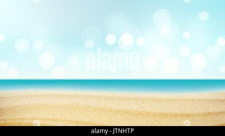 Beach Tropical Vector. Travel Seaside View Poster. Summer Holiday Vacation Concept. Ocean Illustration - Stock Photo