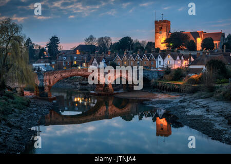 Aylesford, United Kingdom - March 22nd, 2016: Night view to Aylesford village in Kent, England with medieval bridge - Stock Photo