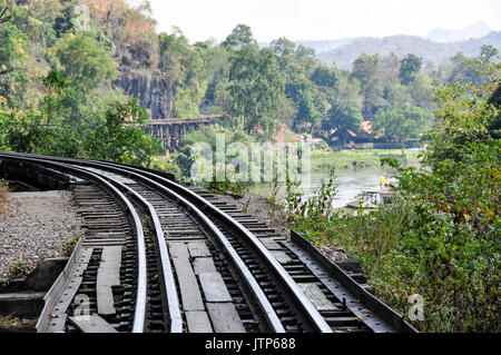 Portion of the Thailand-Burma Railway along the River Kwai, Thailand. - Stock Photo