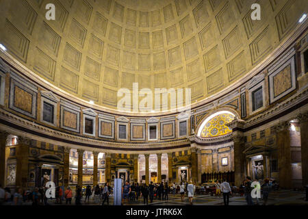 Interior shot in the evening at the ancient Pantheon in Rome Italy - Stock Photo