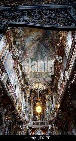 St. Johann Nepomuk Church  or Asam's Church or Asamkirche in Munich, Bavaria, Germany - Stock Photo