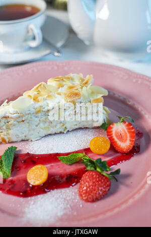 Tiramisu dessert on wooden table. Top view with copy space jpg - Stock Photo