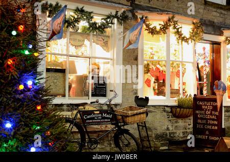 Festive decorations in Castleton, a scenic village in the Peak District,Derbyshire,England, UK - December - Stock Photo