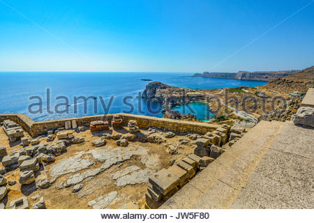 Beautiful view from the ancient Greek Lindos Acropolis on the mediterranean island of Rhodes Greece on a summer - Stock Photo