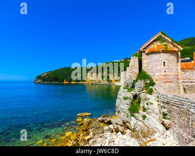 Ancient fortress standing near Adriatic sea. Budva. Montenegro. - Stock Photo