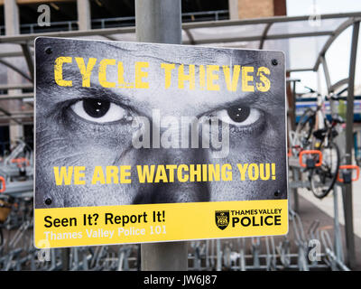 Cycle Thieves Poster, Reading Train Station, Berkshire, England - Stock Photo
