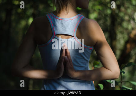 Rear view of female hiker exercising on field - Stock Photo