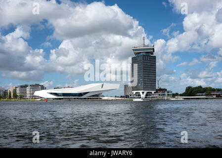 View over the Amstel to the EYE Film Institute Netherlands at the IJpromenade, Amsterdam, North Holland, Netherlands - Stock Photo