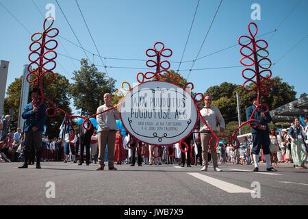 TALLINN, ESTONIA - 04 JUL 2014: Start of ceremonial procession of Estonian song and dance festival - Stock Photo