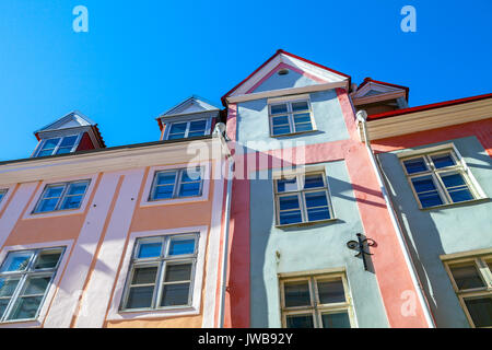 Colorful stoned houses in the Old Town of Tallinn, Estonia - Stock Photo