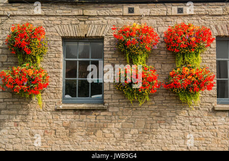 Summer Flower Baskets High Street Thornbury Gloucestershire - Stock Photo