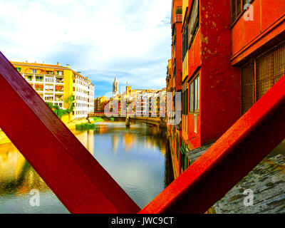 The view of Saint Mary Cathedral in Girona, Spain - Stock Photo