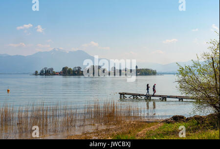 Island Frauenchiemsee with monastery church, Fraueninsel, Chiemsee, Upper Bavaria, Bavaria, Germany - Stock Photo