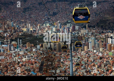 Teleferico cable car network, La Paz, Bolivia, South America - Stock Photo