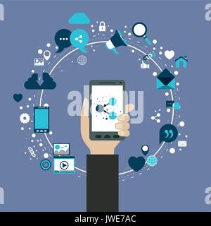color background of circular frame of tech share icons and hand holding a smartphone device - Stock Photo