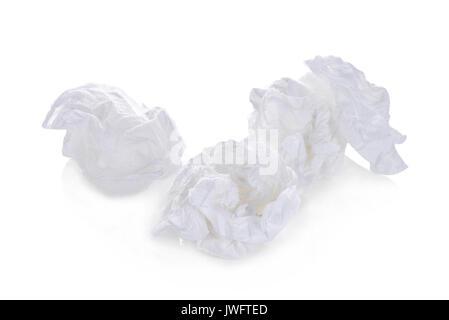 toilet paper balls isolated on white background - Stock Photo