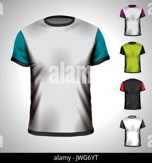 Vector T-Shirt design template in various colors. EPS 10 illustration. - Stock Photo
