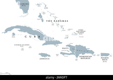 Greater Antilles political map with English labeling. Grouping of the larger islands in the Caribbean Sea with Cuba, - Stock Photo
