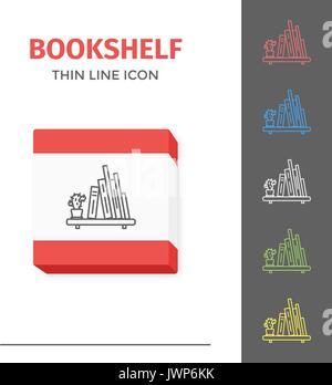 Thin lined book shelf icon. Vector isolated on white outlined sign of books on home shelf in front top view. - Stock Photo