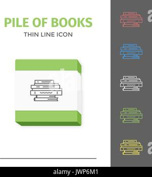 Thin lined learning book icon. Vector isolated on white outlined sign of pile of different closed books in front - Stock Photo