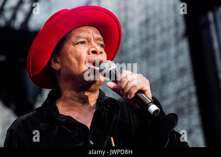 Singer Derv Gordon. Concert of the band The Equals, Ruhrbühne 2017 at Schloss Broich. - Stock Photo