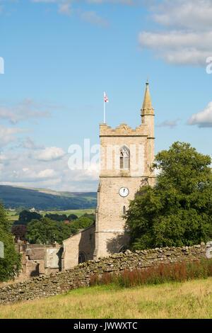 St Margarets church tower, Hawes, Wensleydale, North Yorkshire, England, UK - Stock Photo
