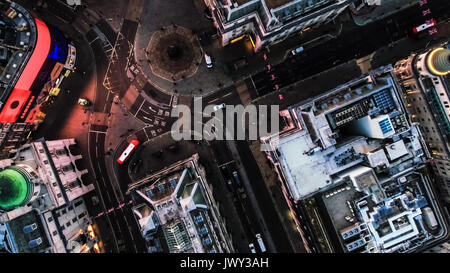 LONDON, UK - 15 MARCH 2017 : Aerial View Photo of Bird's Eye View Flying Over Piccadilly Circus and City Streets - Stock Photo